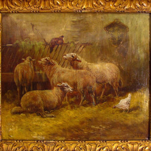 Antique 19thc Barbizon School Signed Oil Painting of Interior Stable View Sheep & Chickens