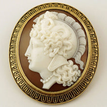 Load image into Gallery viewer, Antique Victorian 10K Yellow Gold Hand Carved Shell Cameo Warrior Goddess Athena Brooch