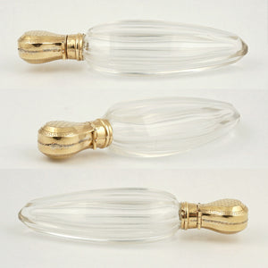 Antique Dutch 14k Gold Cut Crystal Perfume Bottle, Lay Down Scent Bottle