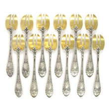 Load image into Gallery viewer, 12 Antique French Sterling Silver & Gilt Vermeil Oyster Forks