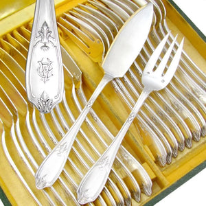 24pc Antique French Sterling Silver PUIFORCAT Fork & Knife Fish Service Flatware Set