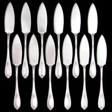 Load image into Gallery viewer, 24pc Antique French Sterling Silver PUIFORCAT Fork & Knife Fish Service Flatware Set