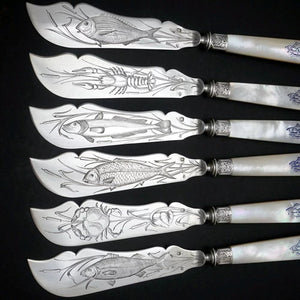 24pc French Sterling Silver Mother of Pearl Fish Fork & Knife Set, Rare Engraved Sea Life, Flatware Cutlery