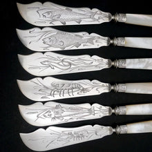 Load image into Gallery viewer, 24pc French Sterling Silver Mother of Pearl Fish Fork & Knife Set, Rare Engraved Sea Life, Flatware Cutlery