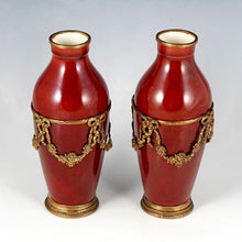 Load image into Gallery viewer, Antique Pair French Paul Milet Sevres Vases Ox Blood Sang De Boeuf Red Flambe