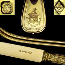 Load image into Gallery viewer, 36pc ODIOT French Sterling Silver 18k Gold Vermeil Armorial Flatware