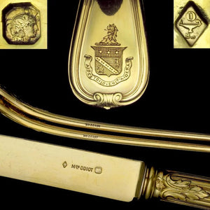 36pc ODIOT French Sterling Silver 18k Gold Vermeil Armorial Flatware