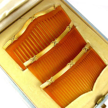 Load image into Gallery viewer, Antique French 18K Gold 3 Piece Hair Comb Set in Original Presentation Box Retailed by CLERC