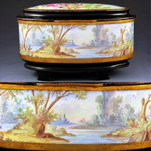 Load image into Gallery viewer, Antique French SIGNED Oliviere Paris Enamel & Bronze Jewelry Casket Box, Scenes of Children & Birds