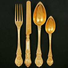 Load image into Gallery viewer, 48pc Antique French Sterling Silver Gilt Vermeil Napoleon III Empire Flatware Service, Set for 12, Inlaid Wooden Chest