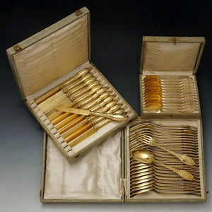 antique french silver flatware service in original boxes for sale
