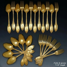 Load image into Gallery viewer, 48pc Antique French Sterling Silver Gilt Vermeil Flatware Service, Set for 12, Ornate Empire Motif