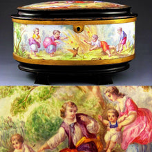Antique French SIGNED Oliviere Paris Enamel & Bronze Jewelry Casket Box, Scenes of Children & Birds