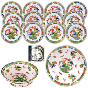 14pc Rare French Sterling Silver Raynaud Limoges Porcelain Dessert Service, Plates, Large Tray & Bowl