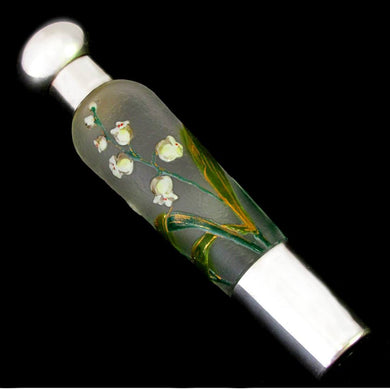 Art Nouveau French Sterling Silver Flask, Lily of Valley Enamel Cameo Glass