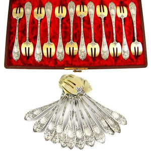 12 Antique French Sterling Silver & Gilt Vermeil Oyster Forks