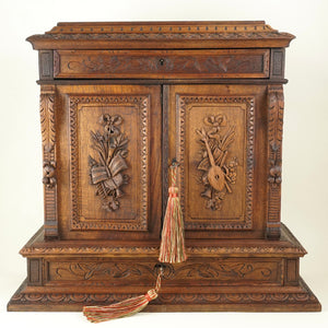 "Antique French Hand Carved Wood 15"" Tall Table Top Cabinet, Black Forest Style"
