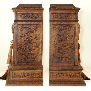 "Antique French Hand Carved Wood 15"" Table Top Cabinet, Black Forest"