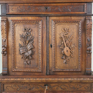 carved wood doors antique french Victorian baroque jewelry cabinet box