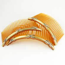 Load image into Gallery viewer, Antique French 18K Yellow Gold & Diamonds Hair Comb Trio Set Original Box