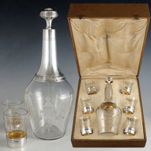 Load image into Gallery viewer, 7pc French Sterling Silver & Cut Crystal Decanter Service