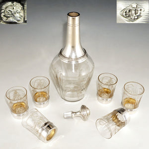 7pc French Sterling Silver & Cut Crystal Decanter Service