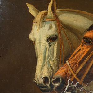 Antique Horse Portrait Oil Painting Equestrian Thoroughbred, dated 1884