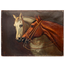Load image into Gallery viewer, Antique Horse Portrait Oil Painting Equestrian Thoroughbred, dated 1884