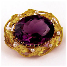 Load image into Gallery viewer, Antique 14k Gold Amethyst & Seed Pearl Brooch / Pin