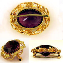 Antique 14k Gold Amethyst & Seed Pearl Brooch / Pin