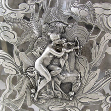 Antique Art Nouveau GORHAM Sterling Silver Overlay Flask, Figural Lady & Cherub
