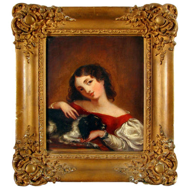 Antique English 19c Oil Painting, Lady & Dog, King Charles Spaniel