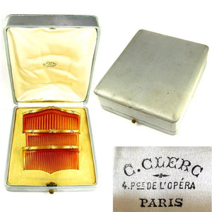 Antique French 18K Gold 3 Piece Hair Comb Set in Original Presentation Box Retailed by CLERC