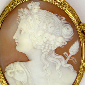 Hand carved shell cameo 14k brooch, Female profile, portrait, Bacchante