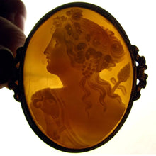 back-lit lighted dark detail hand carved shell cameo brooch carving Victorian