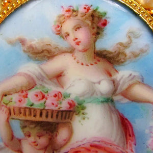 Enamel portrait of a lady, cherub, figural brooch 18k gold jewelry