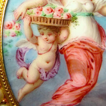 Load image into Gallery viewer, Artwork from a 19th century 18k gold French brooch, cherub with wings, putti, child