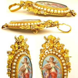 18k yellow gold French brooch, Napoleon III era, pearls, jewelry