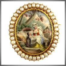 Load image into Gallery viewer, Antique French 18K Yellow Gold & Baroque Pearls Brooch, Enamel Miniature Portrait of Mother & Her Children