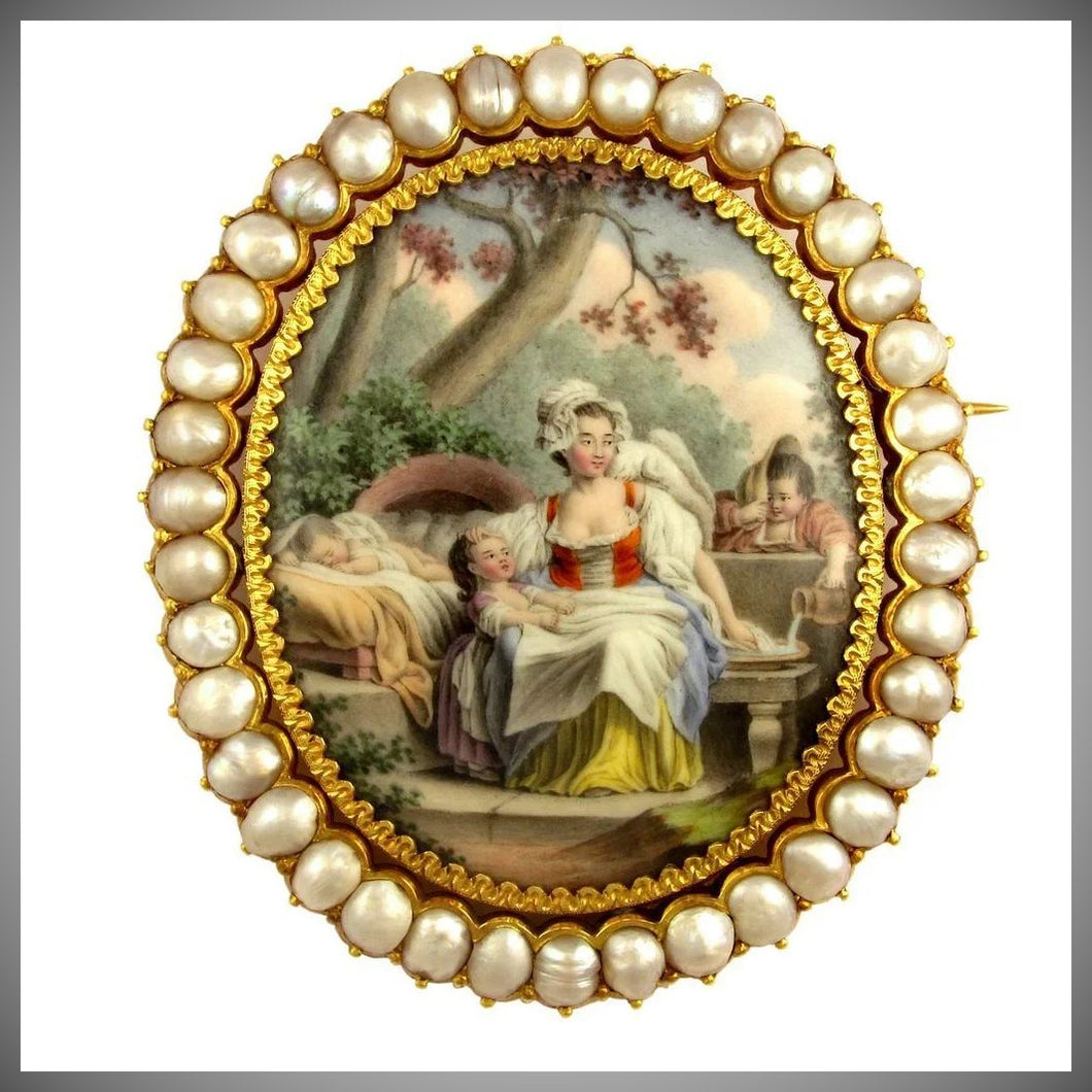 Antique French 18K Yellow Gold & Baroque Pearls Brooch, Enamel Miniature Portrait of Mother & Her Children