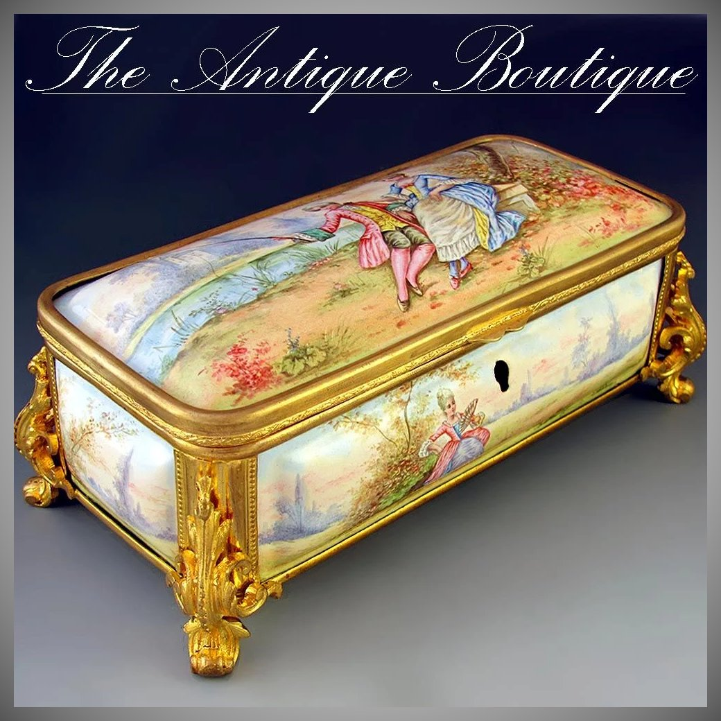 Antique French enamel jewelry box