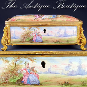 Antique French enamel jewelry box gilt bronze ormolu