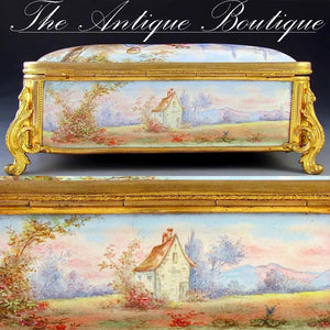 Beautiful antique French enamel jewelry box, gilt bronze