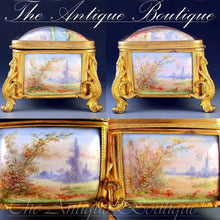 Load image into Gallery viewer, Antique French gilt bronze jewelry box with enamel plaques