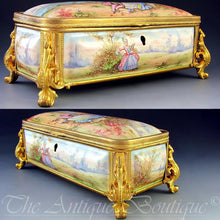 Load image into Gallery viewer, Antique French Enamel on Copper Gilt Bronze Ormolu Jewelry Casket Box