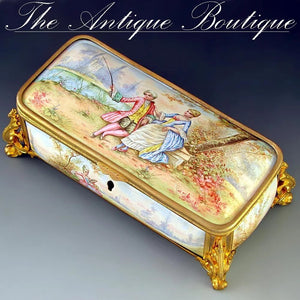 Antique French Enamel on Copper Gilt Bronze Ormolu Jewelry Casket Box