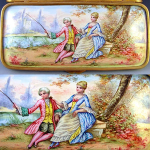 Antique French enamel portrait plaques, gilt bronze jewelry box