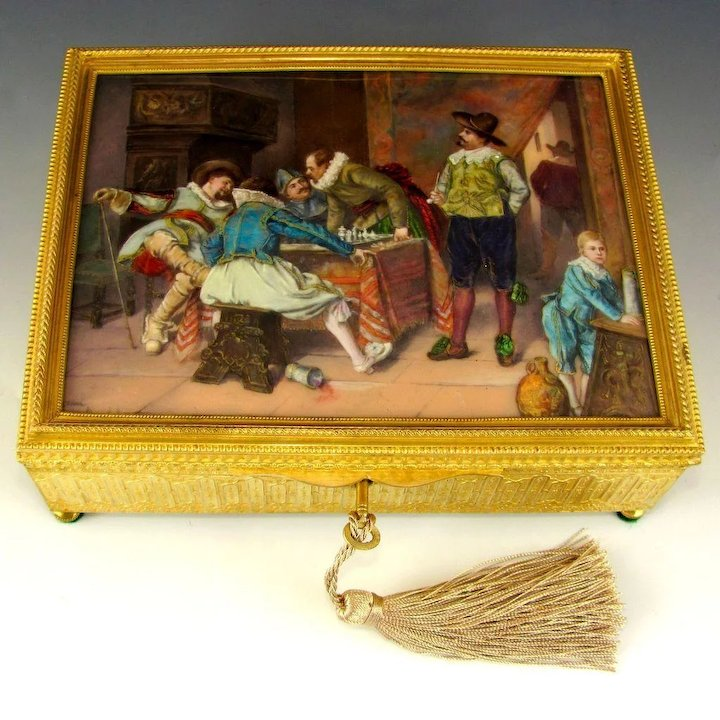 Antique French Gilt Bronze Jewelry Casket Box, Enamel Portrait Plaque, Tavern Scene with Cavaliers