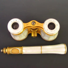 Load image into Gallery viewer, Antique French Lemaire Paris Mother of Pearl Opera Glasses with Extending Lorgnette Handle
