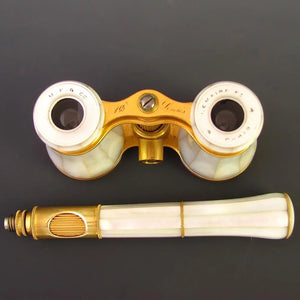 Antique French Lemaire Paris Mother of Pearl Opera Glasses with Extending Lorgnette Handle